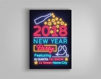 De gelukkige Vectorillustratie van de Nieuwjaar 2018 Affiche Neonteken, lichtgevende banner Brochureontwerp in een neon-stijl uit Stock Foto's