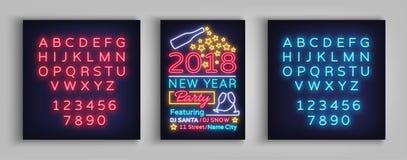 De gelukkige Vectorillustratie van de Nieuwjaar 2018 Affiche Neonteken, lichtgevende banner Brochureontwerp in een neon-stijl uit Stock Afbeeldingen