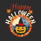 De gelukkige vectorkaart van Halloween De vlakke illustratie van Halloween Stock Foto