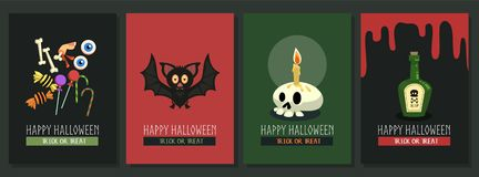De gelukkige vectorprentbriefkaar van Halloween met collectio van het beeldverhaalkarakter royalty-vrije stock afbeeldingen