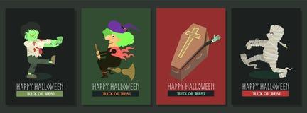 De gelukkige vectorprentbriefkaar van Halloween met collectio van het beeldverhaalkarakter stock foto