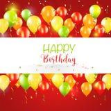 De gelukkige Verjaardag en Partijkaart van de Ballonuitnodiging Stock Foto