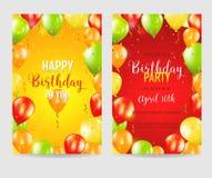 De gelukkige Verjaardag en Partijkaarten van de Ballonuitnodiging Stock Fotografie