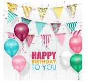 De Gelukkige Verjaardag van kleurenballons op witte achtergrond vector illustratie