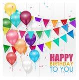 De Gelukkige Verjaardag van kleurenballons op witte achtergrond royalty-vrije illustratie