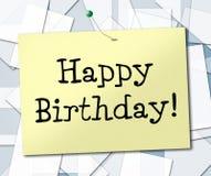 De gelukkige Verjaardag vertegenwoordigt en Groeten die vieren gelukwensen Royalty-vrije Stock Afbeelding