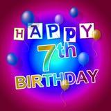 De gelukkige Verjaardag vertegenwoordigt 7Th Groeten en het Vieren Stock Afbeelding