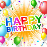 De gelukkige Verjaardag wijst Groeten op Partij en Groet Stock Foto's