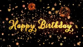 De gelukkige Verjaardags Abstracte deeltjes en schitteren de kaarttekst van de vuurwerkgroet vector illustratie