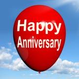 De gelukkige Verjaardagsballon toont Vrolijke Festiviteiten stock illustratie