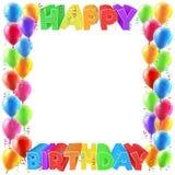 De gelukkige Verjaardagsballons nodigen Grenskader uit Stock Afbeelding