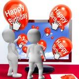 De gelukkige Verjaardagsballons tonen Festiviteiten en Uitnodigingenintern royalty-vrije illustratie