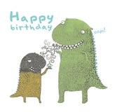 De gelukkige verjaardagsdinosaurus, maakt een wens, gelukkige verjaardag aan u, Vector vector illustratie