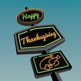 De gelukkige verkeersteken van het Dankzeggings Uitstekende neon Royalty-vrije Stock Foto