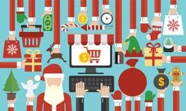 De gelukkige verkoop online vlakke Santa Claus van het Nieuwjaarconceptontwerp stock illustratie