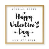 De gelukkige verkoop van de Valentijnskaartenbanner met kader gouden stijl en typografiewens Royalty-vrije Stock Afbeeldingen