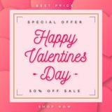 De gelukkige verkoop van de Valentijnskaartenbanner met speciale aanbieding met raad en gouden kader Stock Fotografie