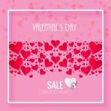 De gelukkige VERKOOP van de Valentijnskaartendag met hert Roze achtergrond royalty-vrije illustratie