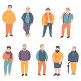 De gelukkige vette mens kleedde zich in heldere mooie kleren vector illustratie