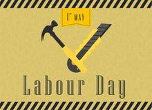 De gelukkige Viering van de Arbeidsdag De gelukkige Prentbriefkaar van de Arbeidsdag of Affiche of Vliegermalplaatje Het gelukkig stock illustratie