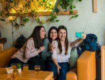 De gelukkige vrienden groeperen het drinken bier en het nemen selfie bij het restaurant van de brouwerijbar stock fotografie