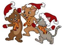De gelukkige vrienden van Kerstmis royalty-vrije illustratie