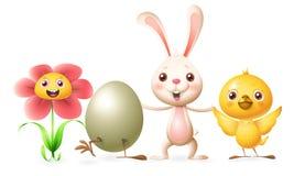 De gelukkige vrienden vieren de Lente of Gele narcis, Uitgebroed ei, Konijntje en Kip - vectorillustratiekarakters stock illustratie