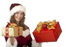 De gelukkige vrouw van de Kerstman met de giften van Kerstmis royalty-vrije stock afbeelding