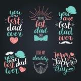 De gelukkige wijnoogst van de Vadersdag logotypes plaatste De vectorkalligrafieinzameling, u is ooit Beste Papa, houdt van me Pap Royalty-vrije Stock Afbeeldingen