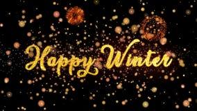De gelukkige de Winter Abstracte deeltjes en schitteren de kaarttekst van de vuurwerkgroet stock illustratie