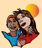De gelukkige wittebroodsweken van de paarovereenkomst Stock Foto