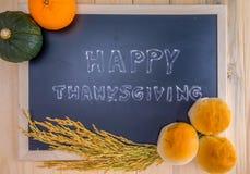 De gelukkige wolk van het Dankzeggingswoord op een uitstekend leibord Stock Fotografie
