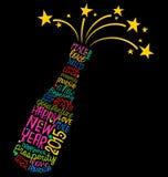 De gelukkige wolk van het de flessenwoord van de Nieuwjaarchampagne Royalty-vrije Stock Foto
