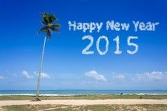 De gelukkige wolk van het Nieuwjaar 2015 woord in de blauwe hemel Stock Foto