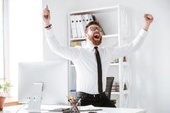 De gelukkige zakenman maakt winnaargebaar royalty-vrije stock foto's