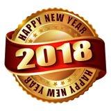 De gelukkige zegel van het Nieuwjaar 2018 gouden etiket Stock Foto