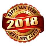 De gelukkige zegel van het Nieuwjaar 2018 gouden etiket Royalty-vrije Stock Foto's