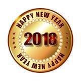 De gelukkige zegel van het Nieuwjaar 2018 gouden etiket met diamanten Stock Afbeelding