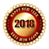 De gelukkige zegel van het Nieuwjaar 2018 gouden etiket met diamanten Royalty-vrije Stock Foto's