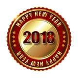 De gelukkige zegel van het Nieuwjaar 2018 gouden etiket met diamanten Royalty-vrije Stock Foto