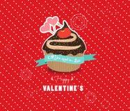 De gelukkige zoete liefde van de valentijnskaartendag cupcake Royalty-vrije Stock Afbeeldingen