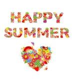 De gelukkige zomer Druk met bloemen, vruchten en hartvorm Royalty-vrije Stock Fotografie