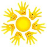 De gelukkige zon van gezichtenhanden Royalty-vrije Stock Afbeeldingen