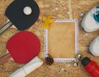 De gelukwensen van de de wintervakantie voor pingpongspelers royalty-vrije stock foto