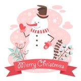De gelukwensprentbriefkaar van sneeuwmankerstmis Stock Afbeeldingen