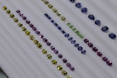 De gem van Srilankan - Gekalibreerde Sapphire Display royalty-vrije stock foto