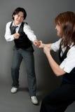 De gemengde Dansers van de Jazz van het Paar stock afbeelding