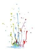 De gemengde plons van de kleurenverf stock fotografie