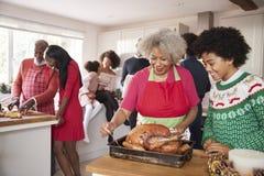 De gemengde race, multigeneratiefamilie verzamelde zich in keuken vóór Kerstmisdiner, grootmoeder en kleinzoon die braadstuk Turk royalty-vrije stock afbeeldingen