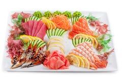 De gemengde sashimi, ruwe vissen reeds voor eet Royalty-vrije Stock Afbeelding